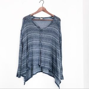 Free People Blue Sharktooth Hem Long Sleeve Tunic